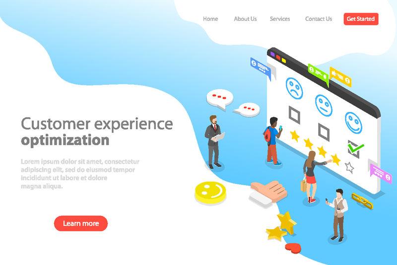 客户体验优化、crm、关系管理、客户评级、用户满意度等角平面登录页模板