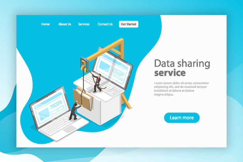 等轴测平面矢量登录页模板-数据共享服务-社交网络-信息交换-文件传输
