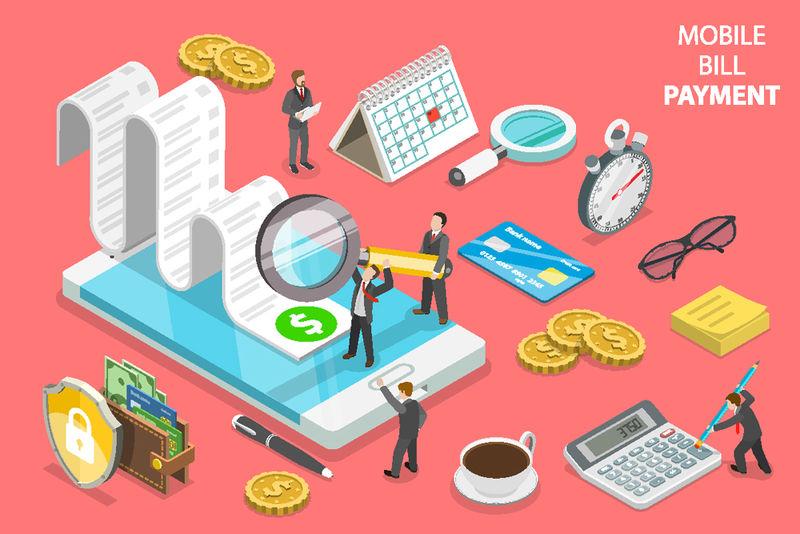 平面等距概念的网上账单支付-购物-银行-会计