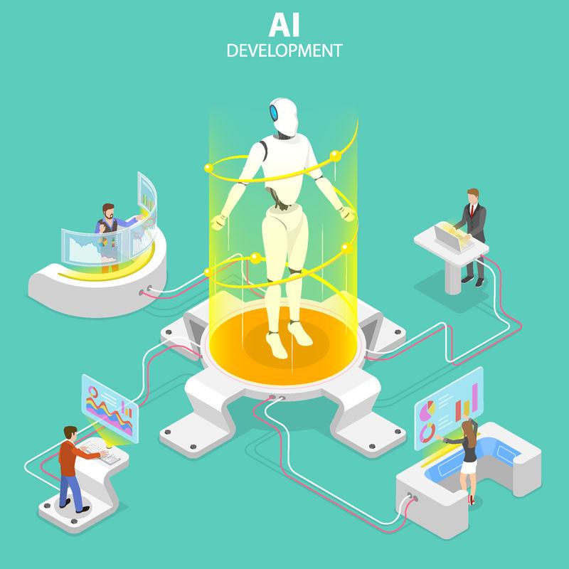 平面等距矢量概念的人工智能开发-机器人与人的合作-人工智能-rpa-物联网