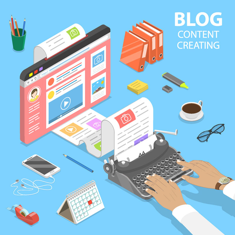 等距平面矢量创意商务博客概念-商务博客发布-文案-内容营销策略