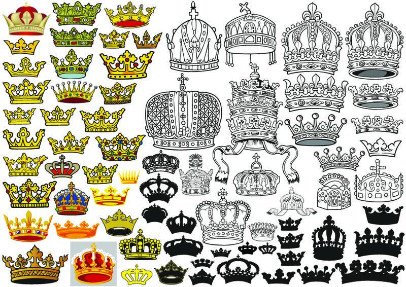 皇家或皇室的皇冠-镶有宝石和装饰-用于纹章或中世纪设计