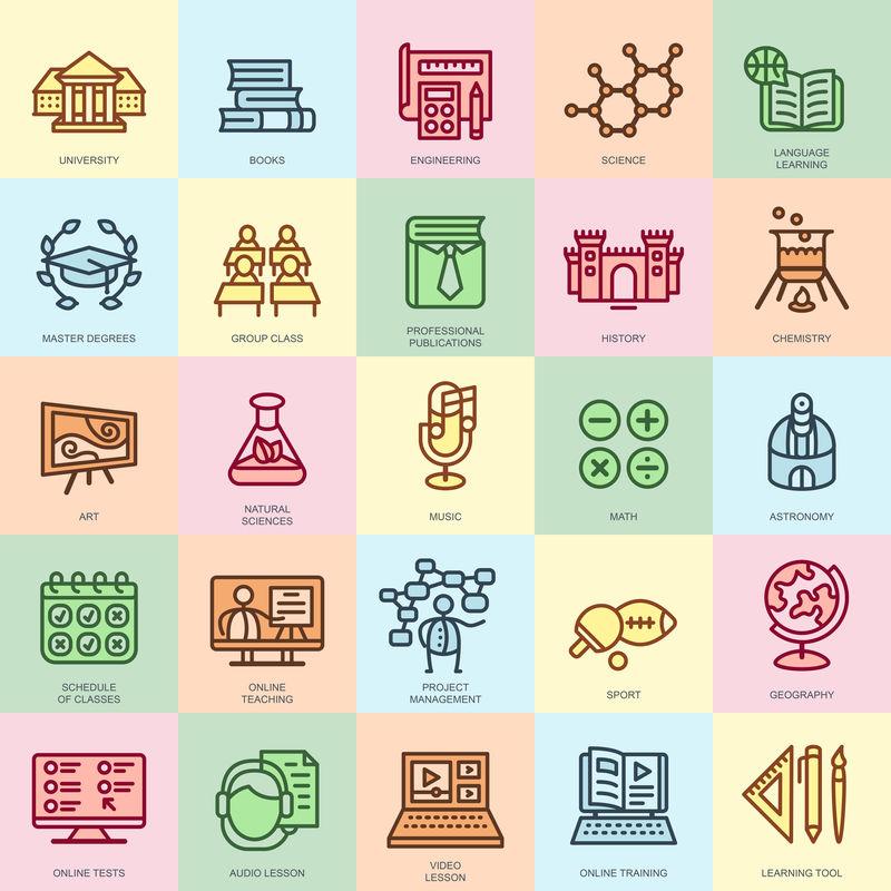 为网站、移动网站和应用程序设置的在线教育、在线培训和课程图标-像素完美-可编辑笔划-扁平简单的线性象形文字包-矢量图解