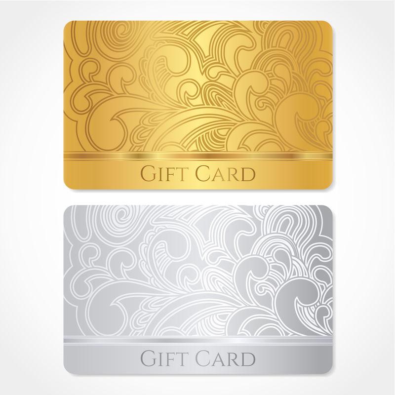 金银礼品卡(折扣卡、名片)-带花(卷轴、漩涡形状)图案(花饰)-礼品券、礼券、请柬、门票等载体的背景设计