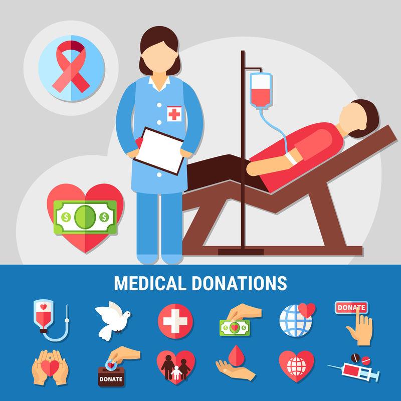 医疗捐赠图标集