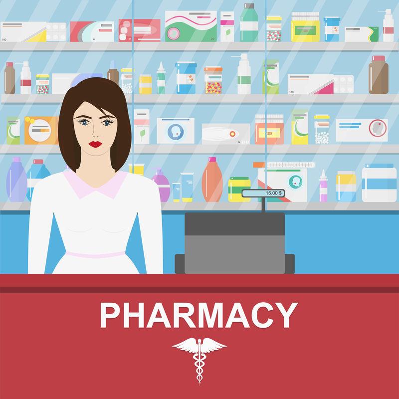 药房信息图表元素。女药剂师