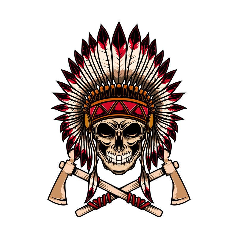 印第安土著头骨,白色背景上有交叉的战斧。标志,标签,标志,标志的设计元素。