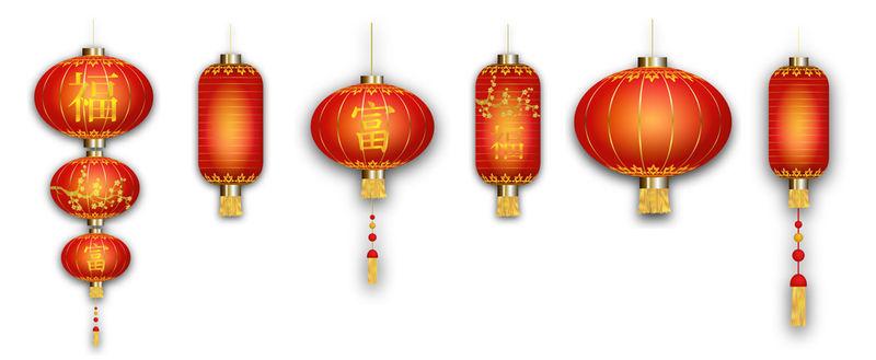 白色背景的中国红灯笼-亚洲元素-金色花朵-财富和幸福的象征-中国新年-春节-中译:幸福与财富-矢量