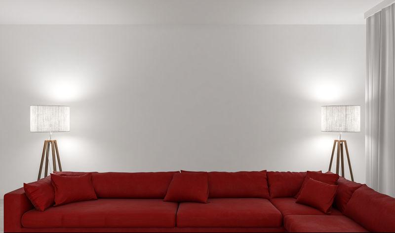两盏灯空墙红色沙发