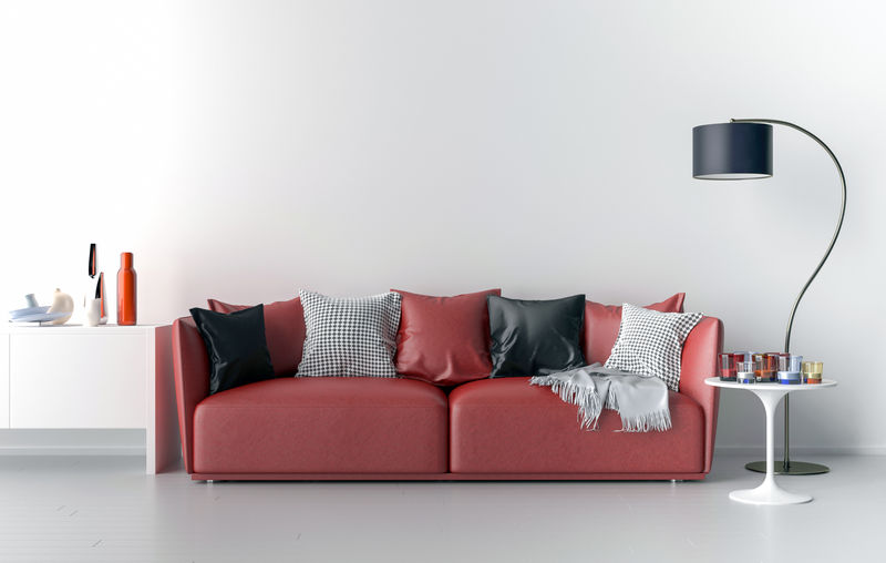 背景为空白墙的客厅