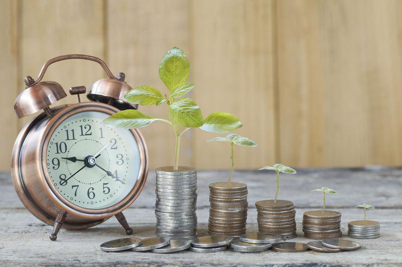 一堆堆硬币和木头上的树背景-储蓄、增长、账户和资本银行的概念