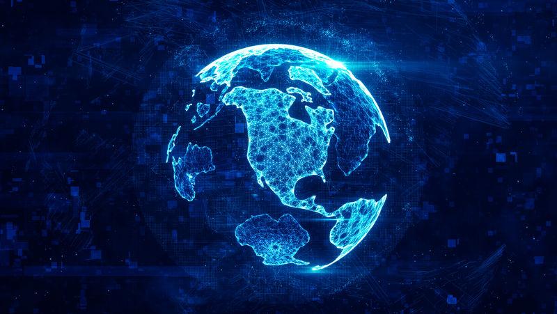 由丛状明亮发光线制成的数字地球仪-详细的虚拟地球-连接线、点和粒子形成世界的技术结构-北美大陆-三维渲染