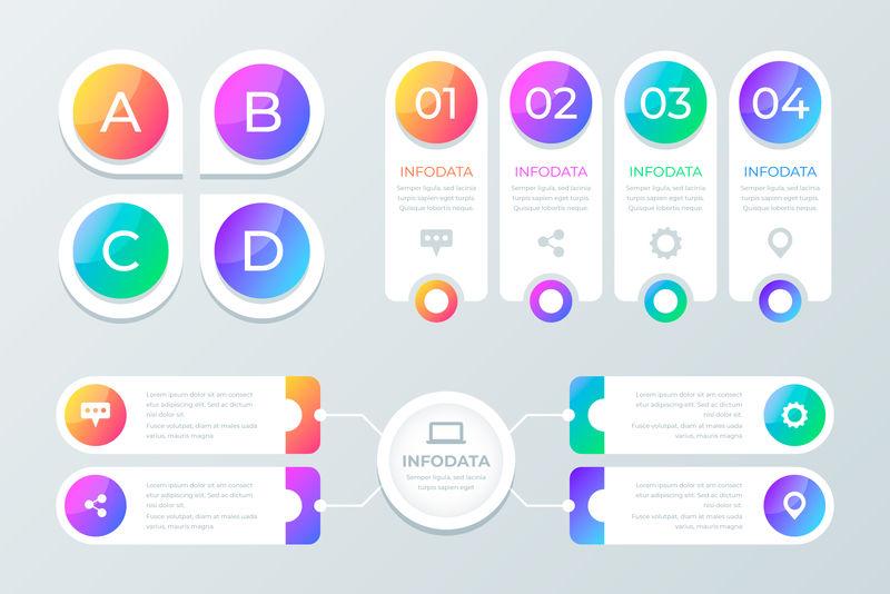 收集的彩色信息图形可用于工作流程布局、图表、数字选项、网页设计-带有选项、部分、步骤或过程的信息图形业务概念-矢量Eps 10