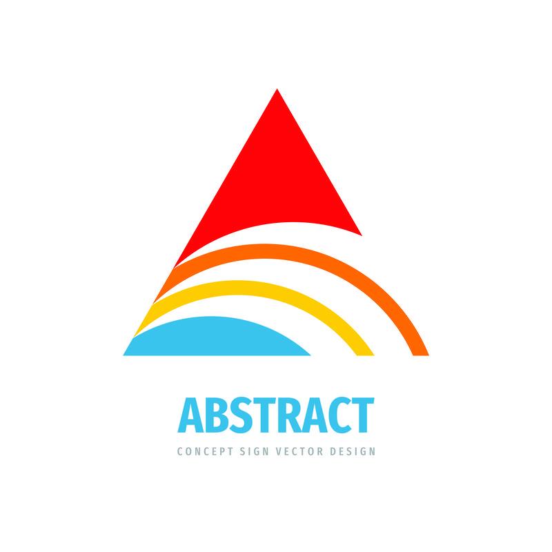 开发进度-商业矢量标识模板-抽象三角形符号-程式化金字塔结构概念图
