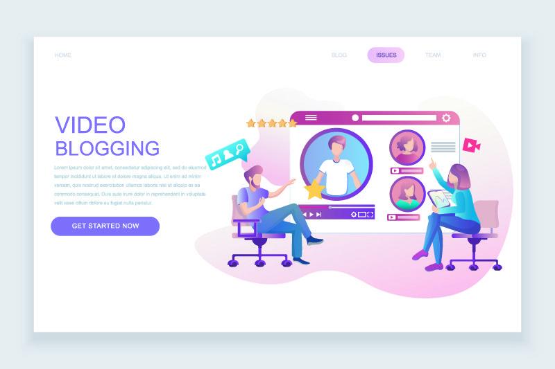 现代平面网页设计模板概念的视频博客装饰人物形象网站和移动网站的开发-平面登录页模板-矢量图解