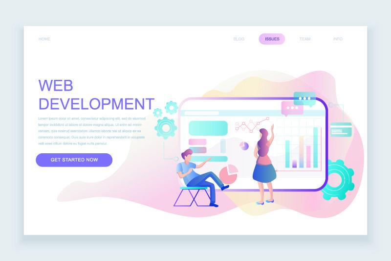 现代平面网页设计模板概念的网页开发装饰了人们的个性网站和移动网站的开发-平面登录页模板-矢量图解