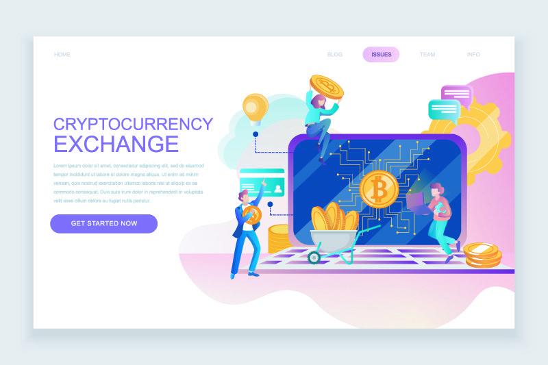 现代平面网页设计模板概念加密货币交换装饰人字网站和移动网站开发-平面登录页模板-矢量图解