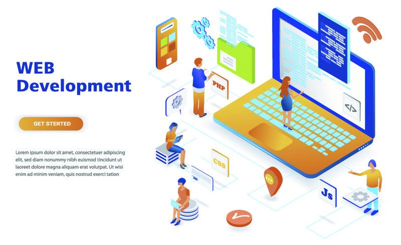 网页开发现代平面设计等距概念-开发人员和人员概念-登录页模板-网页和平面设计的概念等距矢量图