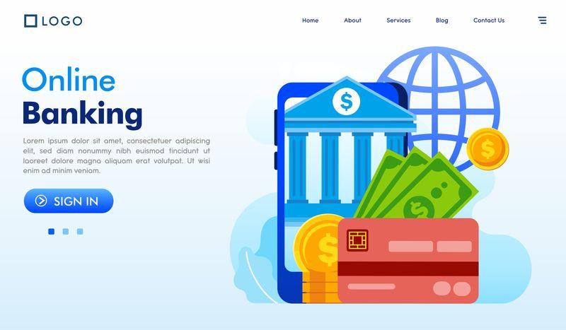 网上银行登陆页面网站图解矢量平面设计