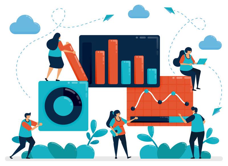市场统计分析。业务图表数据。使用stat