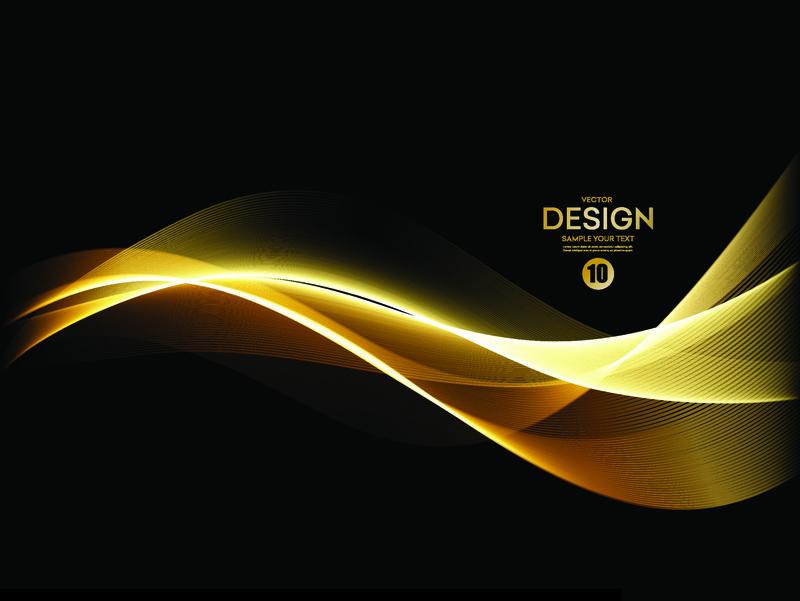 抽象亮色金色波浪设计元素在深色背景上