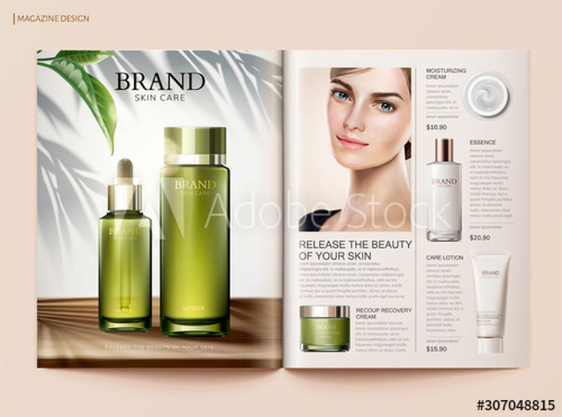 3d插画造型美观-产品多样-刷新护肤杂志模板