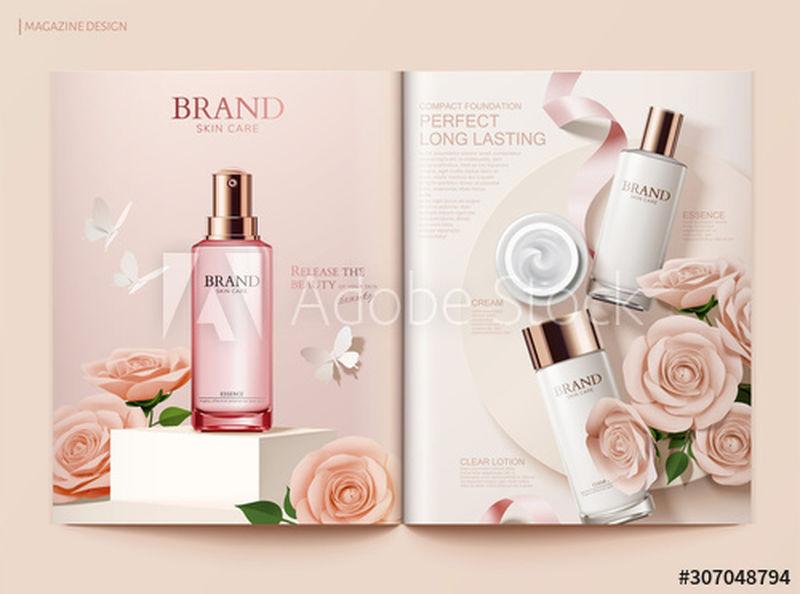 浪漫的护肤杂志模板-化妆品和漂亮的纸玫瑰装饰在三维插图中