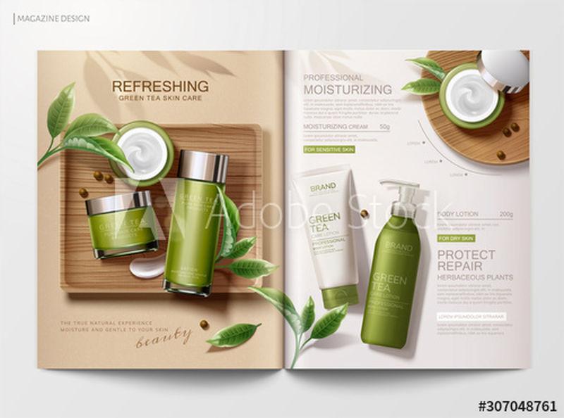 3d插画中具有平铺角度的清爽绿茶护肤品杂志模板