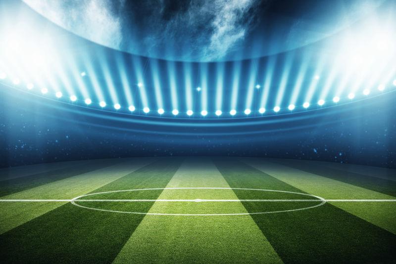 带投射灯的足球场或足球场-矢量图-运动场