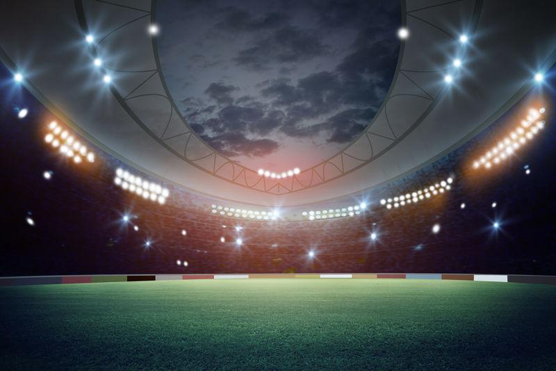 夜间灯光和体育场3d渲染