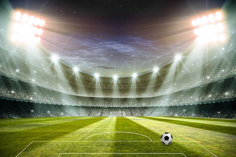夜间灯光和足球场三维渲染