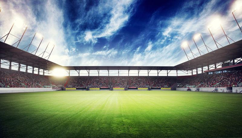 夜晚和体育场的灯光-运动背景-三维渲染