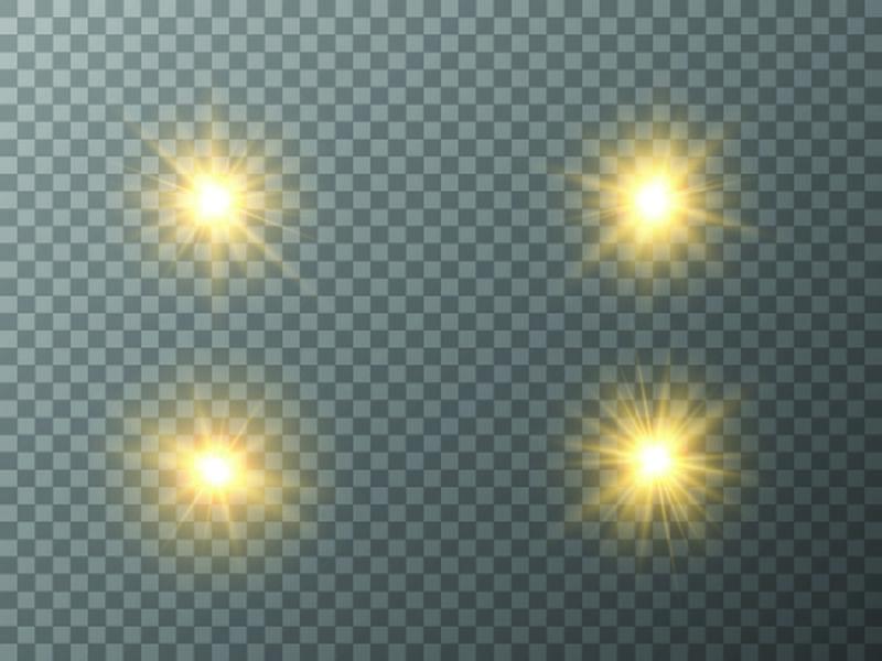 闪亮的星星-太阳的粒子和火花有着突出的效果-五彩缤纷的灯光闪烁着亮片-在透明的背景上-准备好了-载体-EPS10