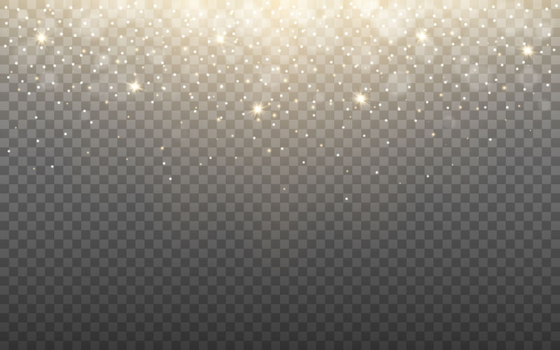 在透明的背景上发光和雪花-闪亮的粒子和波克-金光闪闪-带火花的圣诞横幅模板-矢量图解