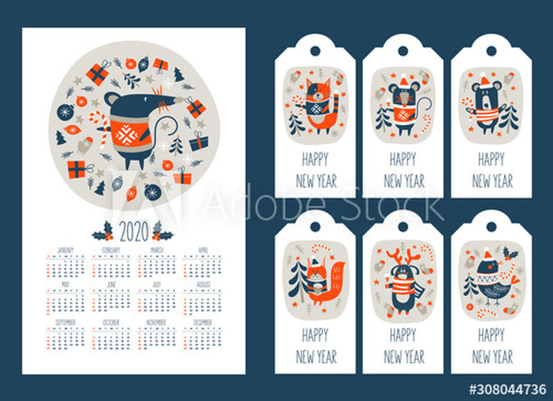 2020年鼠标年的日历-一套带有新年祝福和可爱动物的标签-矢量图解