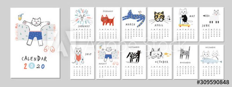 日历2020与有趣和可爱的猫-可打印创意模板