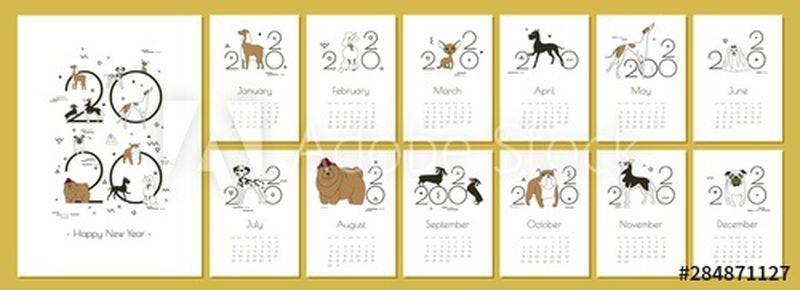 每月创意日历2020与狗品种的狗饲养员和狗爱好者-概念-矢量可编辑模板-简约-孟菲斯风格-素描-绘画-单独的A4页-矢量图示