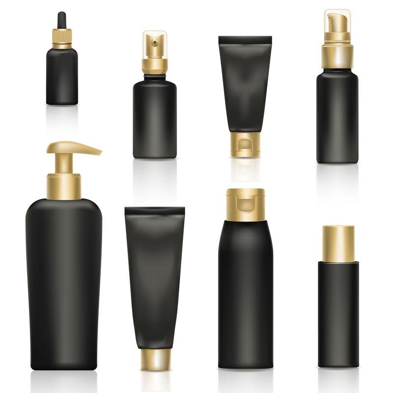 化妆品奶油逼真模板产品包装黄金矢量三维实体钻石广告插图。