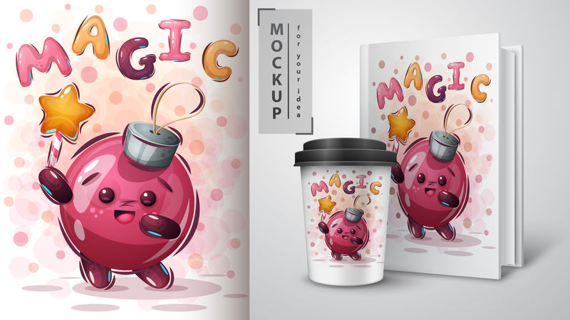 魔术球海报和商品设计