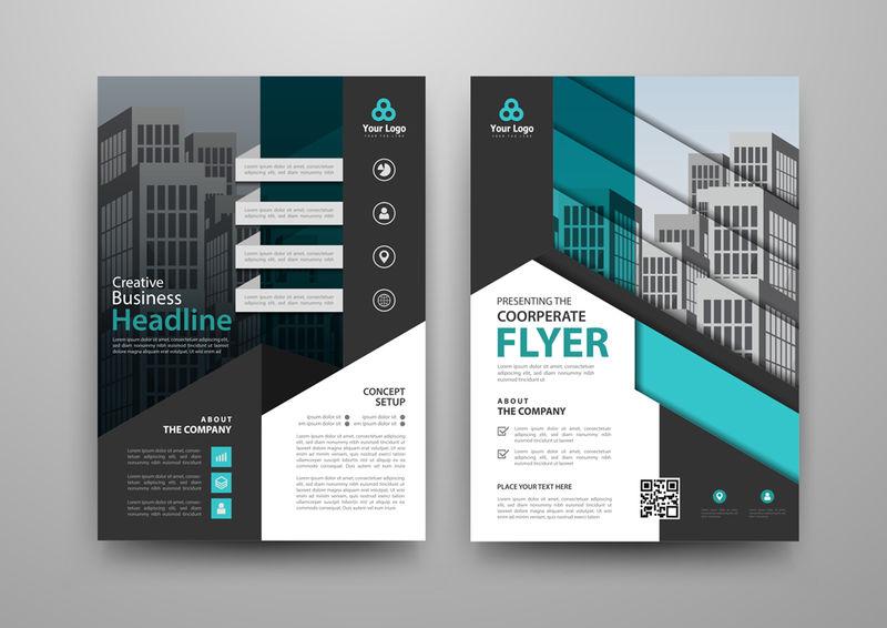 用于小册子、年度报告、杂志、海报、公司演示文稿、公文包、传单、信息图的商业摘要矢量模板-采用A4大小的蓝色和黑色-正面和背面-矢量