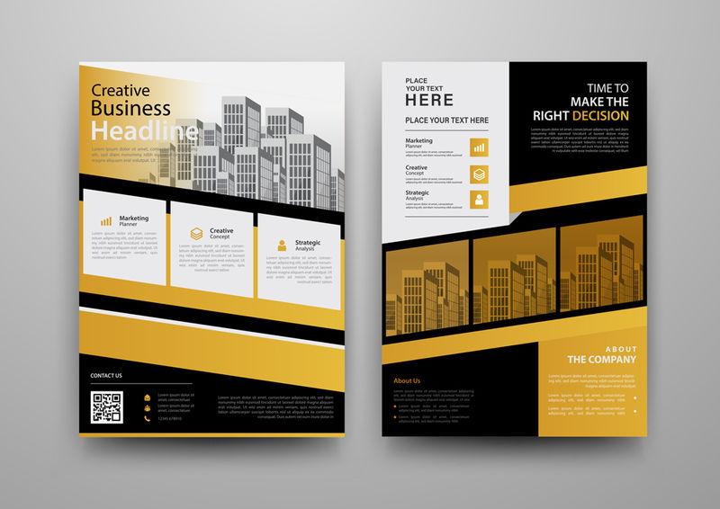 商业摘要矢量模板小册子-年度报告-杂志-海报-企业演示-投资组合-传单-市场-信息图表与黄色和黑色A4大小-正面和背面