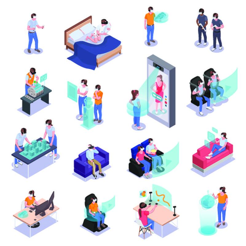增强虚拟现实图标集使用虚拟现实建筑师娱乐学习体验游戏约会独立矢量插图