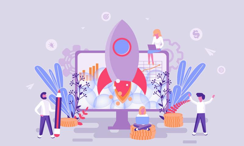 企业创业主页平面网页设计模板或网站和移动网站开发的标题装饰人物字符-平面登录页模板-矢量图解
