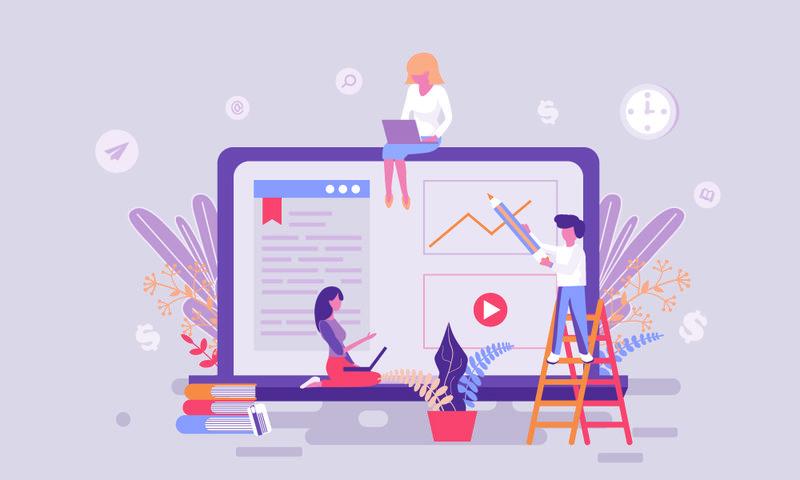 网络教育主页平面网页设计模板或标题修饰人字用于网站和移动网站开发-平面登录页模板-矢量图解