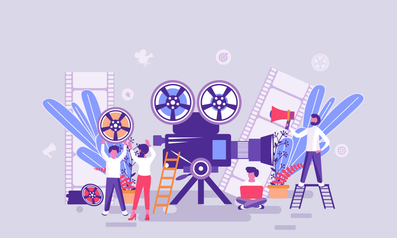 视频制作网页的平面网页设计模板或标题修饰人字-用于网站和移动网站的开发-平面登录页模板-矢量图解