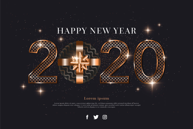 2020新年装烟火金黑向量