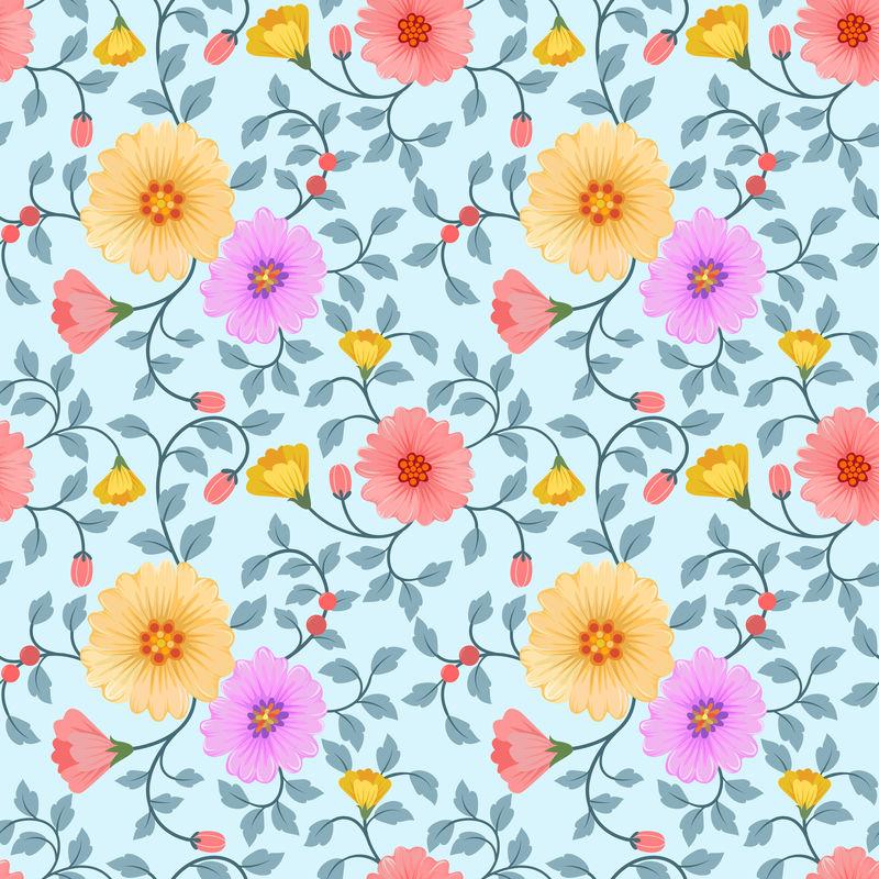无缝彩色花卉矢量时装印刷包装纺织纸张壁纸矢量