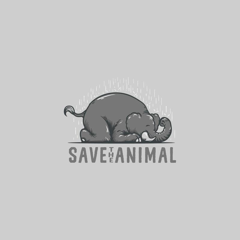 保存大象动物标志插图矢量
