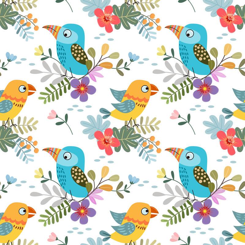 可爱的彩色鸟与热带叶无缝图案织物矢量
