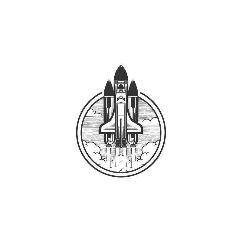 航天飞机标志复古插图矢量